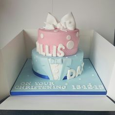 Boy and girl christening cake
