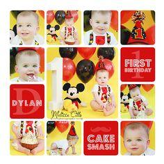 1st birthday baby boy   cake smash   Mickey Mouse