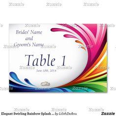 Elegant Swirling Rainbow Splash Wedding Table Card