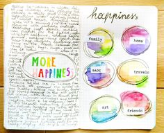 Fay - This is a clear and brief example of visual journal about the theme of 'more happiness'. The left half page focus on the writing of ideas and the right half page lists six main aspects of the happiness for author. 30 Day Art Challenge, Art Journal Challenge, Art Journal Prompts, Art Journal Pages, Art Journaling, Journals, Notebooks, Journal Ideas, Mixed Media Journal