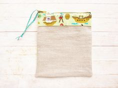 Linen pencils case cosmetic bag toilet pouch rustic playful pirate ship boat Peter Pan sand brown green blue zipper pouch wallet purse gift by poppyshome on Etsy