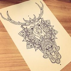 For Nathan ✋  #tattoo #hamsahand #dotwork #drawing #stag #mandala