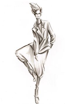 Fashion illustration in marker by Lara Wolf| Be Inspirational ❥|Mz. Manerz: Being well dressed is a beautiful form of confidence, happiness & politeness