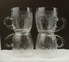 4 x Victorian Etched Custard Glasses, Very Pretty Decoration, Nice Shape & Size