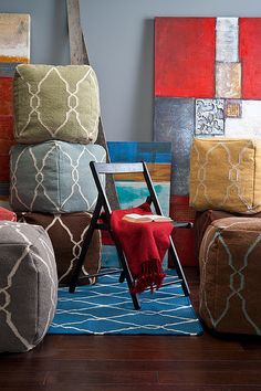The Fallon Collection of poufs coordinate perfectly with the Fallon Rug Collection- all designed by @Jill Meyers Meyers Rosenwald for Surya.