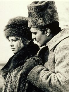 Julie Christie and Omar Sharif in 'Dr. Zhivago', 1965 - Costume designer, Phyllis Dalton designed the beautiful gowns and peasant wear for David Lean's epic romance.
