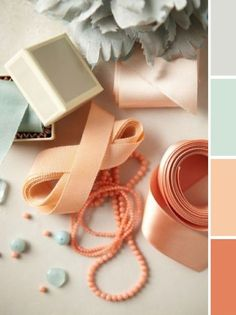 peach, mint and grey