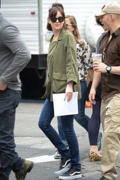 Dakota Johnson wearing Current/Elliott Infantry Jacket in Army and Vans Sk8-Hi…
