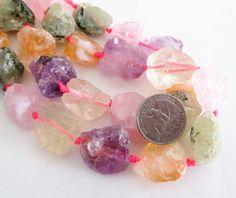 Mix Color Quartz Nugget Beads  Chunky Raw Rough Rock by BijiBijoux