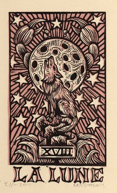 Moon Tarot Card Linocut Art Print by Horse and Hare