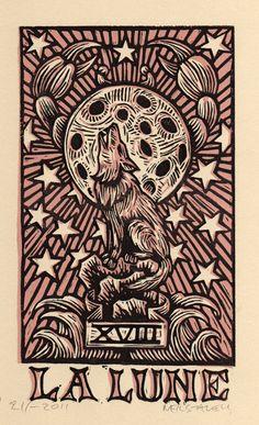 Moon Tarot Card Linocut Art Print by Horse and Hare