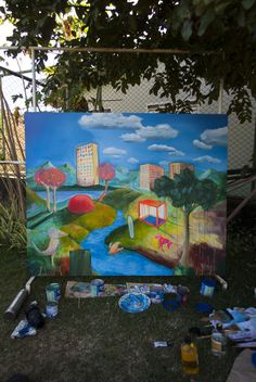 O mundo, in process, 260 x 130 cm, oil, canvas, Brazil, https://donxt.com/de/campaigns/pm