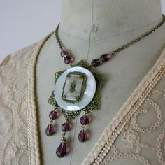 Mother of Pearl and Crystal Assemblage Necklace from Fatto a Mano Antiques