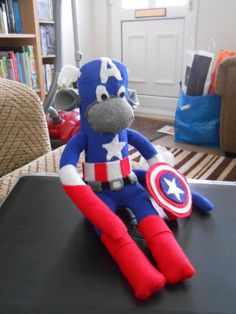 The Avengers Captain America Sock Monkey by ChimplyMarvellous, £14.00