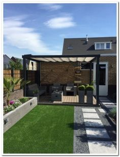backyard porch ideas on a budget patio makeover outdoor spaces best of i like this open layout like the pergola over the table grill 38 ~ mantulgan.me garden design layout Easy Backyard, Small Backyard, Patio Makeover, Contemporary Garden Design, Terrace Design, Backyard Landscaping Designs, Back Garden Design
