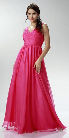 9c7b334de03 ON SPECIAL LIMITED STOCK - Sleeveless V Neck Fuchsia Bridesmaid Gown A Line  Long Chiffon