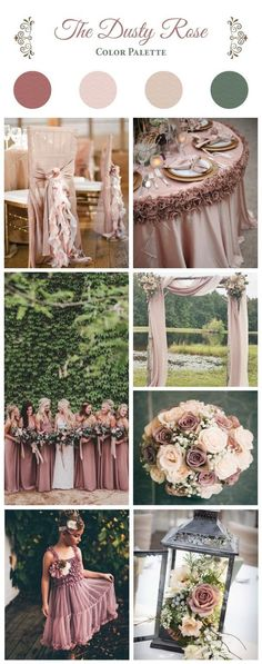 dusty rose color palette wedding color ideas autumn wedding colors / wedding in fall / fall wedding color ideas / fall wedding party / april wedding ideas Dusty Rose Wedding, Wedding Flowers, Old Rose Wedding Theme, Rose Gold Weddings, Rose Gold Theme, Burgundy Wedding, Wedding Rings, Wedding Ideias, Dusty Rose Color