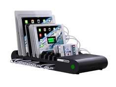 96W 10-Port Giant Family-Sized Desktop USB Rapid Charger Cradle for iPhone / iPad / Phones / Tablets