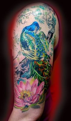 peacock and lotus, love it