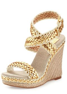 love these braided gold wedges, perfect for Spring