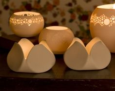 Tulip - Porcelain Candle light Holder. Design by Wapa Studio via Etsy