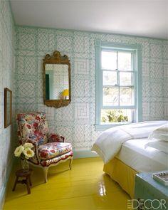 Painted yellow floors - Erika Bearman's Southampton Home