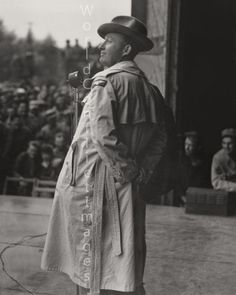 Bing Crosby on the stage at Station 121, Bassingbourn, England, during the USO show for the airmen of the 91st Bomb Group. 1943.