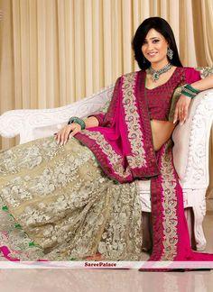 Shweta Tiwari Style Beige Net Lehenga Choli