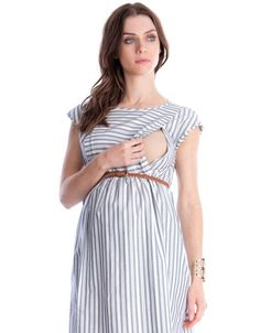 Best 12 cotton Invisible zip nursing access Detachable self tie belt Pockets Keyhole detail back Effortlessly chic, our Cotton Stripe Maternity & Nursing Dress puts a feminine new spin on the nautical trend. Maternity Jacket, Maternity Nursing Dress, Maternity Wear, Maternity Dresses, Maternity Fashion, Pregnancy Dress, Breastfeeding Fashion, Breastfeeding Clothes, Nursing Clothes