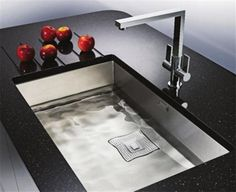 36 Admirable Contemporary Kitchen Sink Design Ideas - The sink is the most important spot in any kitchen and it also one of the most frequently visited spot in the home. It is considered that at any given. Square Kitchen Sink, Large Kitchen Sinks, Contemporary Kitchen Sinks, Steel Kitchen Sink, Kitchen Sink Design, Modern Sink, Kitchen Sink Faucets, Kitchen And Bath, Bathroom Basin