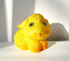 Lamb Toy, Sheep Russian USSR Soviet Children Toy, Gift for Kid's, Yellow Rubber Sheep Collectible Toy
