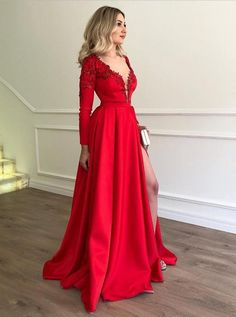 1aec80b7d27 Red V Neck Modest Prom Dresses with Split Long Beaded Evening Dress Long  Sleeves