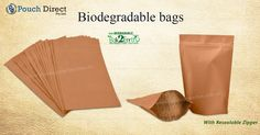 """Bags and Pouches manufactures #biodegradablebags in #brown and #white colours. Our #oxodegradablebags, also known as """"#Back2earth"""", are made 100% environmentally friendly #biodegradableplastic."""