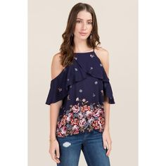 3dc5bd1a8e83f Shaelyn High Neck Ruffle Floral Cold Shoulder Top - Navy ( 25) ❤ liked on Polyvore  featuring tops