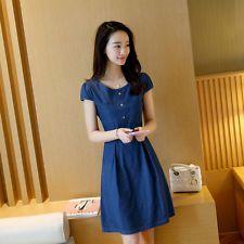 Summer Denim Dress Women Short Sleeve A-Line Jeans Dress