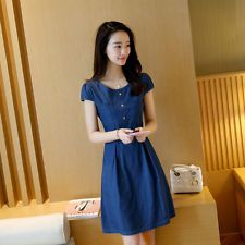 Summer Denim Dress Women Short Sleeve A-Line Jeans Dress