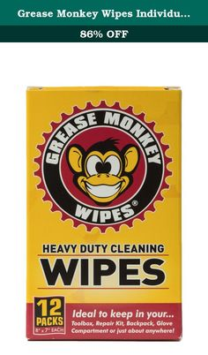 Grease Monkey Wipes Individual Heavy Duty Multi Purpose Cleaning Wipes (Box of 12). Grease Monkey Wipes use a powerful, citrus formula to safely clean grease, grime, oil, lubricants, adhesives, ink and much more. No soap and water? No problem. Pre-moistened Grease Monkey Wipes are ideal for cleaning mobile messes associated with biking, boating, driving, fishing, hunting, camping, and much more.
