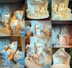 Wonderful made from Vintage Molds Santa's Workshop,Santa Claus, Mrs Santa, Santa's elves, Ready to paint, Ceramic Bisque