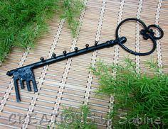 Large Cast Iron Key Hanger Skeleton Key Shape Black Metal Wall Hanging Keys Rack Hook Decoration Rustic Décor Vintage FREE SHIPPING