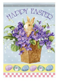 """""""Bountiful Basket"""" HAPPY EASTER Bunny in Flowers, Eggs  28""""x40"""" House Flag"""