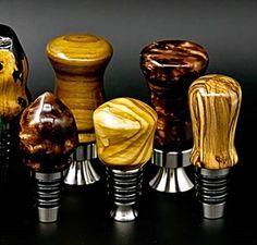 Unique Bottle Openers, Bottle Cap Opener, Wine Bottle Stoppers, Wine Bottle Holders, Wood Turning Projects, Lathe Projects, Wood Projects, Woodworking Projects, Liquor Bottles