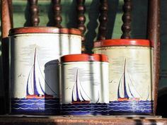 Vintage Sailboats Tin Litho Canister Set Red White and Blue Nautical Decor Kitchen Storage Metal Container Boat Sailing Seaside Beach  #A258