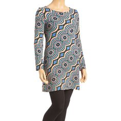Aryeh Black & Teal Geometric Tunic Sweater ($15) ❤ liked on Polyvore featuring plus size women's fashion, plus size clothing, plus size tops, plus size sweaters, long sweaters, tall sweaters, geometric print top, geometric print sweater and geometric top