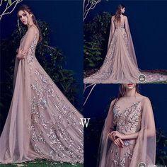 Bordado Rosa Suave noturnas vestidos de festa formal Prom Longo Cabo Custom