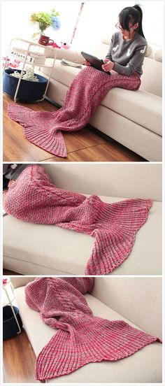 Mixture Crocheted / Knited Mermaid Tail Blanket#It has 10% off now ,the coupon code is :Happyday11