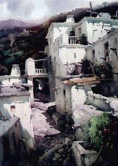 Watercolor by spanish painter Rafael-Garcia-Bonilla (1931-2012)