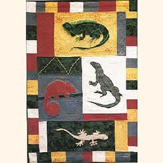 Lizard with chameleon quilt