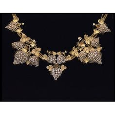 Necklace: originated and probably hand made in  England, Great Britain, 1835-1845  -  Unknown  Artist/Maker  -  Composed of Coloured gold and pearls