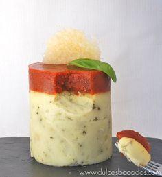 Dulces bocados: Parmentier con parmesano, albahaca y salsa de tomate (sin gluten)