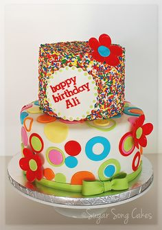 """Sprinkles And Circles Birthday Cake 6"""" buttercream sprinkles cake over a 9"""" fondant cake. Thank you for looking!"""